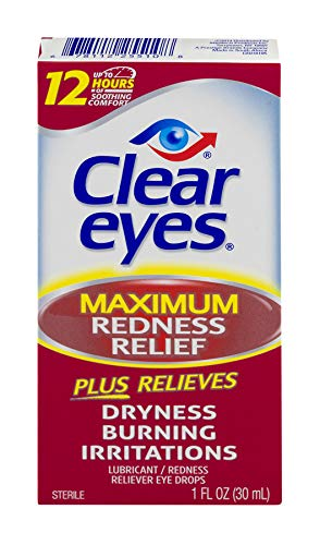 Clear Eyes Maximum Redness Relief Eye Drops | Relieves Drying, Burning & Irritations | 1 Fluid Ounce