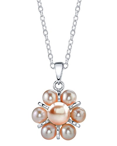 THE PEARL SOURCE 4-5mm Genuine Pink Freshwater Cultured Pearl Cluster Pendant Necklace for ()