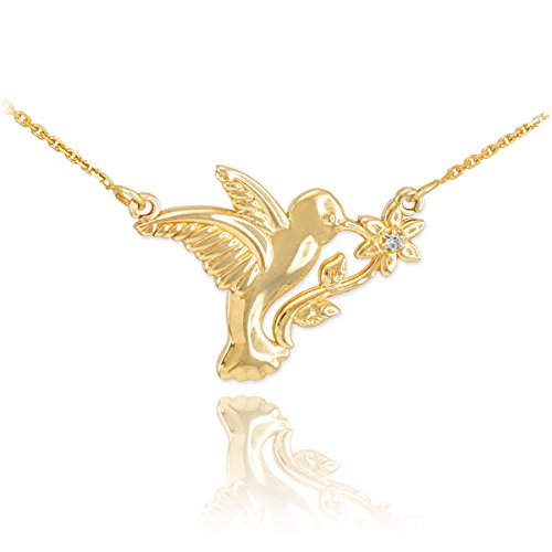 Diamond Hummingbird Pendant (Fine 14k Yellow Gold Diamond-Accented Hummingbird Pendant Necklace, 18