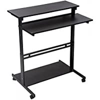 Home Office Adjustable Standing Desk Workstation w/Casters Tray L100 (Black)