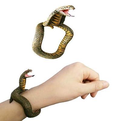 Royu 4 Piece PVC Toy Snake Bracelet, Halloween Party Realistic Snake Bracelet Fake Snake Wrist Band Scary Mischievous Toys Novelty Party Supplies and Practical Joke Toys: Toys & Games