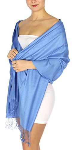 Pashmina Shawls Wraps, for women, summer wedding scarf, linen touch 20 Sky Blue