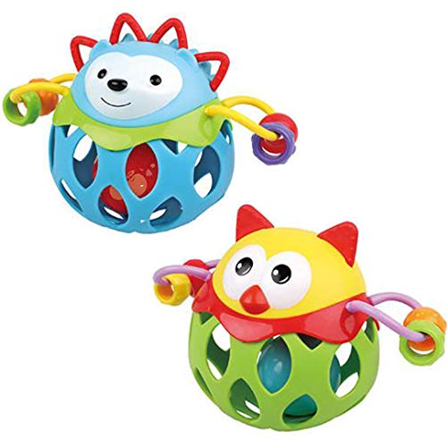 NeatoTek 2 Pack Newborn Baby Rattle Toy Toddler Teether Ball Little Boys Girls Shake and Roll Ball Perfect for Teething and Skill Development Suitable for Ages 3-18 Months (Hedgehog and Owl)