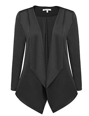 ACEVOG Womens Casual Work Office Open Front Cardigan Blazer Jacket (Large, Black) (Office Coat)