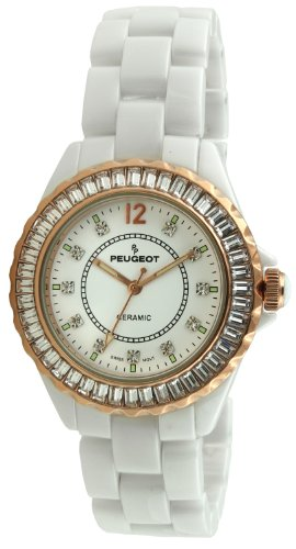 Peugeot Women's PS4885WRG Swiss Ceramic Swarovski Crystal Rose Gold White Dial Watch