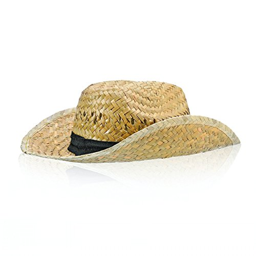 Woven Straw Cowboy Hat with Fabric Band and Adjustable Chinstrap, Perfect Cruise Accessory by Bottles N Bags -