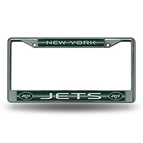 NFL New York Jets Bling Chrome License Plate Frame with Glitter ()