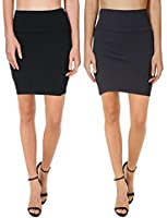Bodycon Above Knee Pencil Skirt for Women Short Cotton Stretchy Mini Skirt