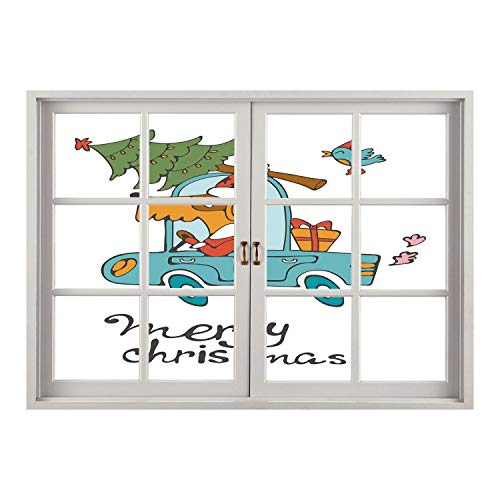 (SCOCICI Creative Window View Home Decor/Wall Décor-Christmas,Blue Vintage Car Dog Driving with Santa Costume Cute Bird Tree and Gift Present,White Multi/Wall Sticker)