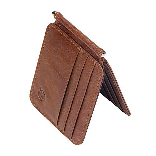 Badiya Men's Bifold Money Clip Wallet Vintage Genuine Leather Slim Card Holders