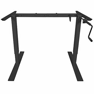 """Titan Manual Hand Crank Adjustable Sit-Stand Standing Desk Frame 50""""H 63""""W (Black)"""
