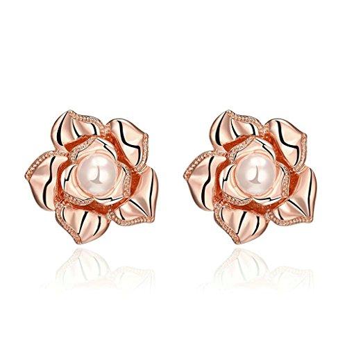 Beydodo 18K Rose Gold Plating Women Stud-earrings AAA Rhinestone Flower Pearl Rose Gold Environmental