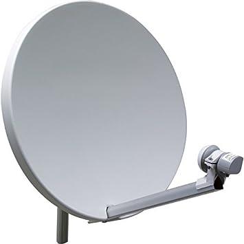 Antena parabólica 60 cm fibra SMC + cabeza LNB single (1 salida) – Alta qualitée – especial HDTV