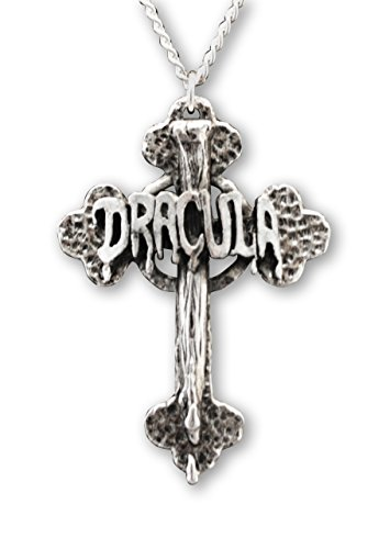 [Dracula Cross with Vampire Stake Silver Finish Pewter Pendant Necklace] (Real Dracula Costume)