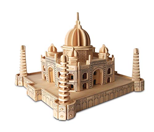 (Puzzled Taj Mahal 3D High Grade 3mm Wooden Puzzle Famous Landmark Puzzle Comes w/ Sandpaper |Easy to Assemble 176 Interlocking Pieces |Assembly Size Approximately 8.5