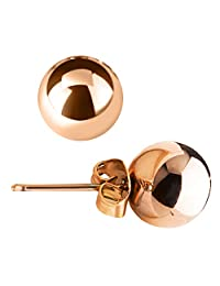 Stud Earring, UHIBROS 316L Stainless Steel 24K Rose Gold Sterling Silver Pearl Round Ball Earrings