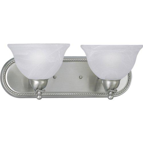 Progress Lighting P3267-09 2-Light Bath Bracket with Swirled Alabaster Glass, Brushed Nickel ()