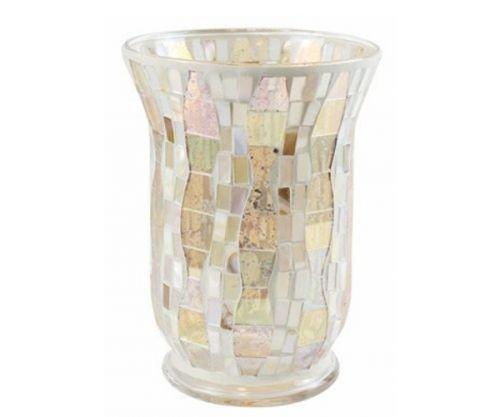 YANKEE CANDLE 1521496Gold Wave Mosaic Wind luce del titolare della carta, vetro, Hell bunt, 22.5x 16x 16cm