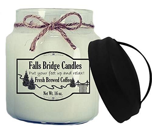 - Falls Bridge Candles Fresh Brewed Coffee Scented Jar Candle, 16-Ounce, w/Handle Lid