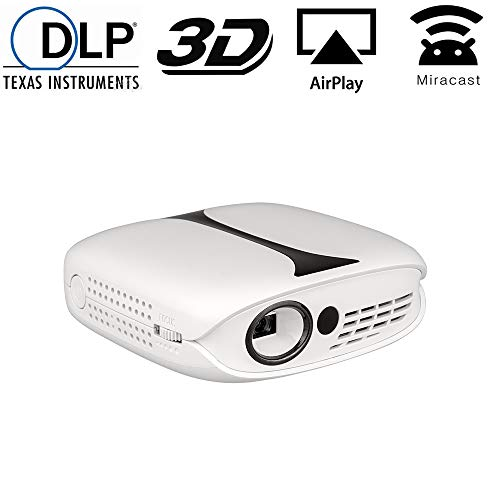 Mini DLP Projector, Gzunelic LCD Portable Video Projector Wireless synchronize to Phone by Airplay or Miracast, Home Theater 1080p Full HD Proyector Built in Lithium Battery, ±40° Auto Keystone
