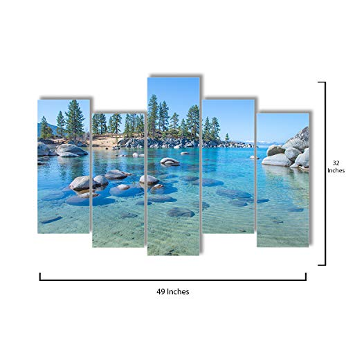 Pop Layout - 5 Piece Canvas Wall Art - Beautiful Clear Water On The Shore of The Lake Tahoe - Modern Home Decor Stretched and Framed Ready to Hang - 49