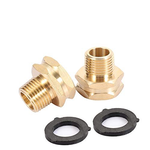 """ZKZX Garden Hose Adapter,3/4"""" GHT Female x 1/2"""" NPT Male Connector,GHT to NPT Adapter Brass Fitting,Brass Pipe to Garden Hose Fitting Connect (2 Pack) (1/2NPT)"""