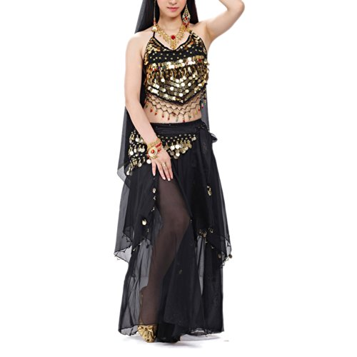 BellyLady Halloween Belly Dance Costume, Halter Bra Top, Hip Scarf and (Belly Dancers Costumes Halloween)