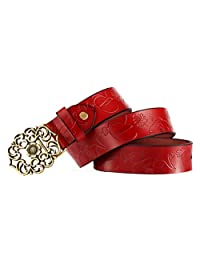 Fashion Ms Wild Width Jeans Genuine Leather Leather Belt,Red-onesize