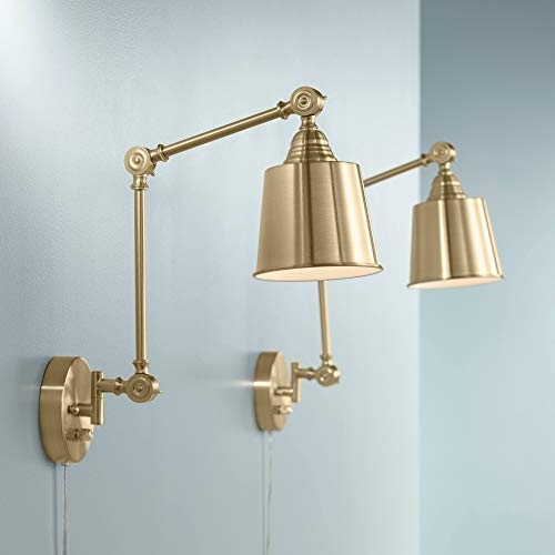 Set of 2 Mendes Antique Brass Down-Light Plug-in Wall Lamps - 360 Lighting