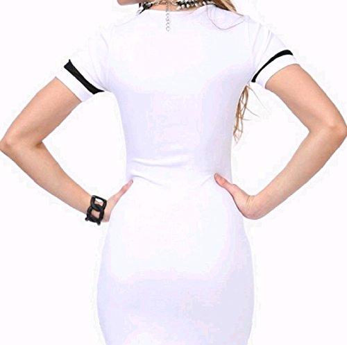 Coolred-femmes Lettre Occasionnelle Voir Par Le Haut T-shirt Pull Mince Robe Blanche
