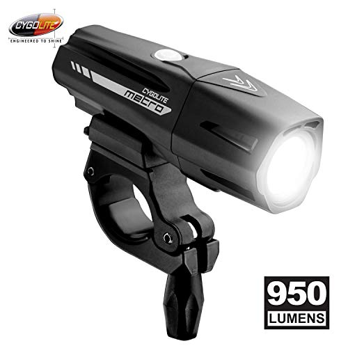 Cygolite Metro Pro- 950 Lumen Bike Light- 5 Night & 3 Daytime Modes- Compact & Durable- IP67 Waterproof- Secured Hard Mount- USB Rechargeable Headlight- for Road, Mountain, Commuter Bicycles