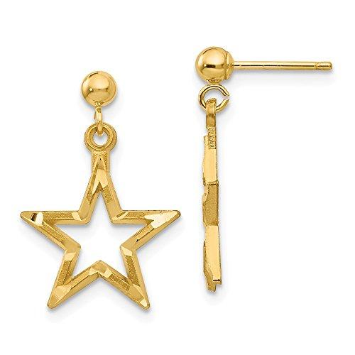 (14k Yellow Gold Star Drop Dangle Chandelier Post Stud Earrings Celestial Fine Jewelry Gifts For Women For Her)