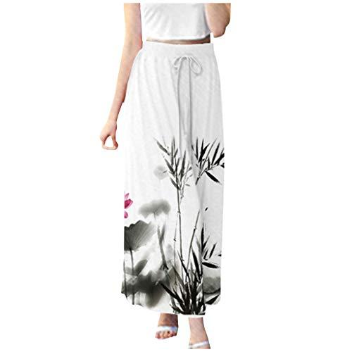 RIUDA Womens Boho Split Stripe Wide Leg Pants Comfy Casual Pajama Pants Floral Print Drawstring Palazzo Lounge Pants Wide Leg Black]()