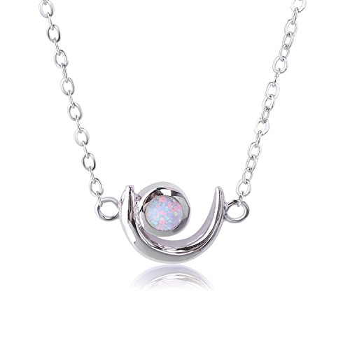 KELITCH 925-Sterling-Silver Chain Moon Design White Synthetic-Opal Stone Pendant - Opal Moon Necklace