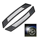 Audi Fender Trim - iJDMTOY Pair Universal White Reflective Side Marker Stickers w/Outer Black Carbon Fiber Trim For Car SUV Truck Wheel Well Arch or Side Bumper/Fenders