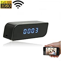 Jiusion Wireless IP WiFi Camera Clock Mounted on a Wall, 1080P HD Camera, App-Enabled Motion Activated Security Surveillance