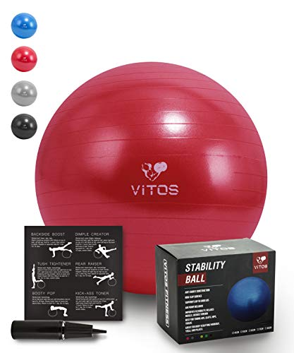 Vitos Fitness Anti Burst Stability Ball Extra Thick Non Slip Supports 2200LB for Fitness Exercise Birth Balance Yoga Workout Guide Quick Pump Included Professional Quality Design (Red, 55 cm) (Ball Aquatic Valve)