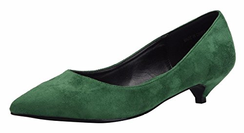 Jiu du Formal Shoes for Women Cute Slip On Pointed Toe Low Kitten Heel Dress Pumps Shoes Green Velvet Size US9.5 EU43