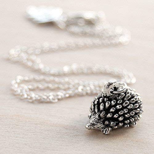 Enchanted Leaves - Little Silver Hedgehog Necklace - Cute Hedgehog Charm Necklace