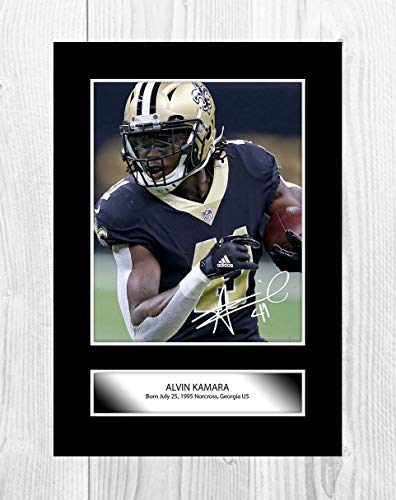 buy popular 3e112 bba29 Engravia Digital Alvin Kamara NFL New Orleans Saints A4 Poster with  Reproduction Autograph Picture Photo A4 Print (Unframed)
