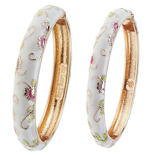 UJOY Cloisonne Bracelet Butterfly Gold Hinge Indian Cuff Bangle Enameled Jewelry Flower Bracelets for Women Gift Box 55A108-B30 Butterfly White