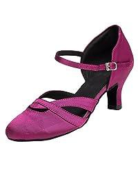 Minitoo Women's TH152 Comfortable Low Heel Satin Wedding Ballroom Latin Taogo Dance Pumps Shoes