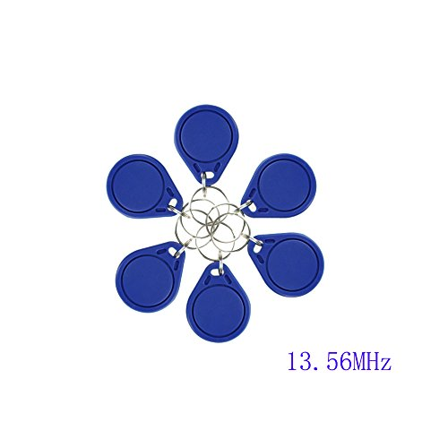 (10pcs) OBO HANDS RFID ISO MF 1443A Classic 1K Card Only Read 13.56MHz Proximity Keyfobs NFC Tag Keychain Token (Blue)