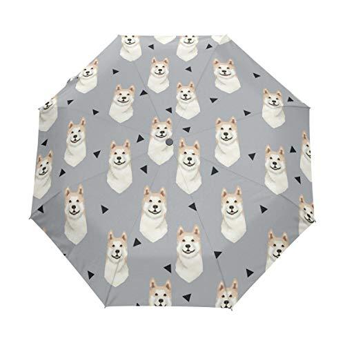 - HLive Travel Umbrella Akita Dog Gray Auto Open Compact Folding Sun & Rain Protection Umbrella with UV Protection Windproof