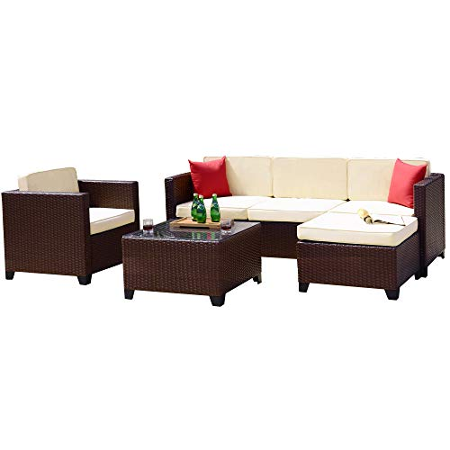 Belmont Home BH Baza 6-Piece Outdoor Wicker Sectional Sofa Set, Cocoa Brown