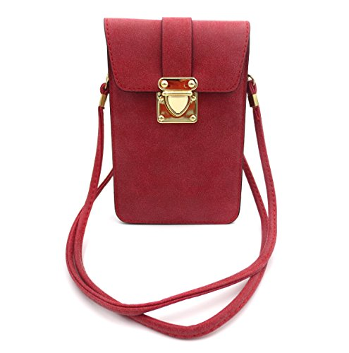 Matte PU Leather Mini Crossbody Single Shoulder Bag Cellphone Pouch Wallet Case for iPhone X max 8 7 6 Plus Small Travel Purse ()