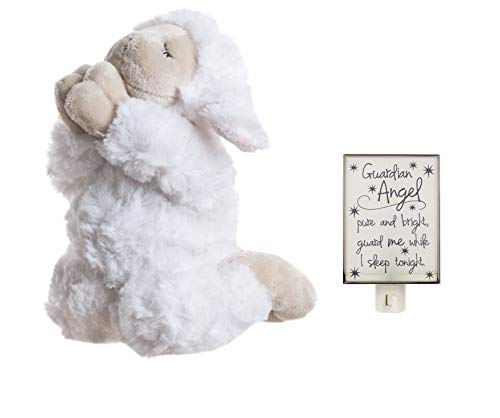 (Ganz Plush Inspirational Praying Lamb and Guardian Angel Night Light Bundle for Girl or Boy)