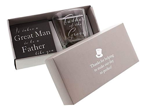 Father of the Groom Whiskey Glass and Coaster Gift Set By Haysom Interiors ()
