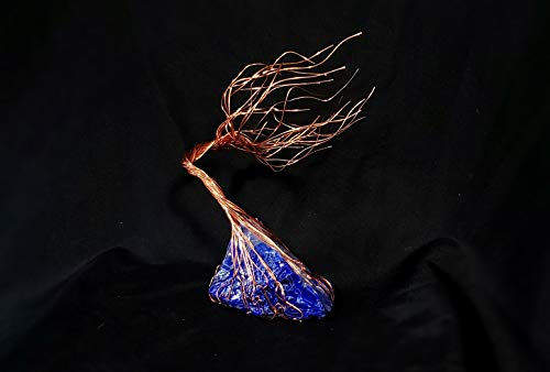 - Steel Blue Glass & Copper Wire Spirit Tree #1698 Glass Art Sculpture 7th Anniversary Gift Steampunk Industrial Father's Day Mother's Day Christmas Present