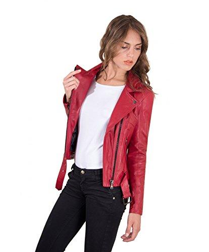 Effetto Chiodo Con Pelle Nappa Liscio D'arienzo Colore • Biker Rosso Giacca In Cintura PUqgwad